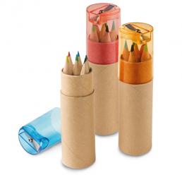 Set cu 6 Creioane Colorate si Ascutitoare
