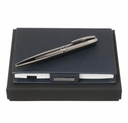 Set cu Notebook A6 New Loop Dark Blue si Pix Stripe Dark Chrome HUGO BOSS
