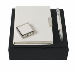 Set cu Pix, Cuier portabil pentru geanta si Notebook A6 Saffiano Cream HUGO BOSS
