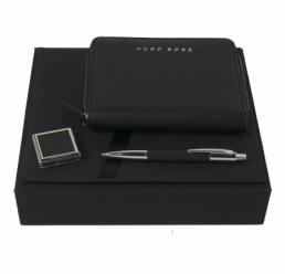 Set cu Pix, Cuier portabil pentru geanta si Folder A6 Saffiano Black HUGO BOSS