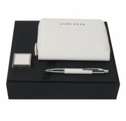Set cu Pix, Cuier portabil pentru geanta si Folder A6 Saffiano Cream HUGO BOSS
