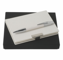 Set cu Notebook A6 Saffiano si Pix Saffiano Cream HUGO BOSS
