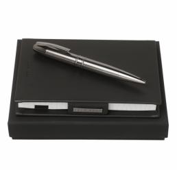 Set cu Notebook A6 si Pix Stripe Dark Chrome HUGO BOSS
