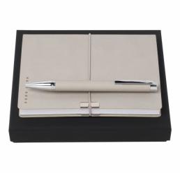 Set cu Pix si Notebook A6 Storyline Light Grey HUGO BOSS