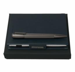 Set cu Notebook A6 New Loop Dark Blue si Pix Pure Matte Dark Chrome HUGO BOSS