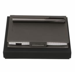 Set cu Notebook A6 New Loop Dark Grey si Stilou Keystone Grey HUGO BOSS