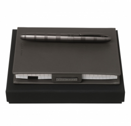 Set cu Notebook A6 New Loop Dark Grey si Roller Rise Dark Chrome HUGO BOSS
